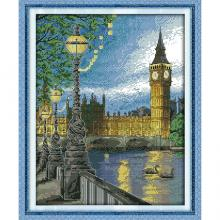 """Набор для вышивания крестиком """"Вечерний Лондон"""", 35х42 см, 14 СТ, Идейка"""